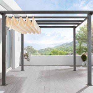 Terrassen-Pavillon-Pergola-Aluminiumgestell-Polyester-Dach-stufenlos-raffbar-290-x-290-x-220-cm-dunkelgrau-beige-0-0