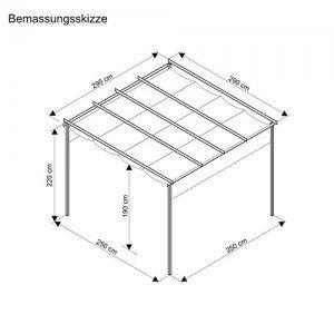 Terrassen-Pavillon-Pergola-Aluminiumgestell-Polyester-Dach-stufenlos-raffbar-290-x-290-x-220-cm-dunkelgrau-beige-0-2